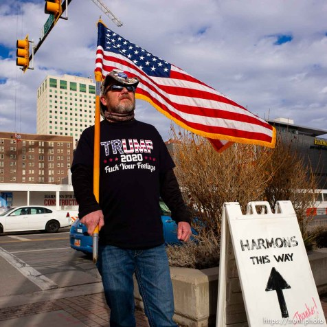 (Trent Nelson | The Salt Lake Tribune) A counter-protester, Trump supporter, as people gather in front of the Federal Building in Salt Lake City on Saturday, Jan. 4, 2020 to protest the escalation of tensions with Iran.