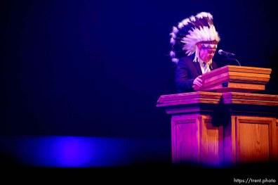 (Trent Nelson | The Salt Lake Tribune) Darren Parry leaves a blessing at the inauguration of Brad Mortensen as the president of Weber State University in Ogden on Tuesday, Jan. 7, 2020.