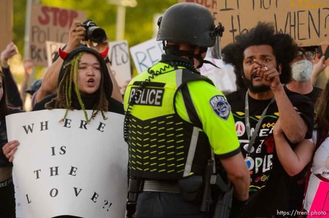 (Trent Nelson   The Salt Lake Tribune) Protesters march against police brutality in Salt Lake City on Tuesday, June 2, 2020.