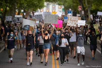 (Trent Nelson | The Salt Lake Tribune) Protesters march against police brutality rally down State Street in Salt Lake City on Friday, June 5, 2020.