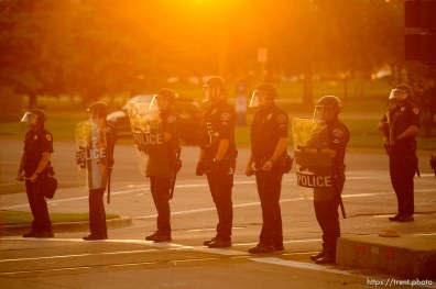 (Trent Nelson | The Salt Lake Tribune) Police in Salt Lake City on Thursday, July 9, 2020.