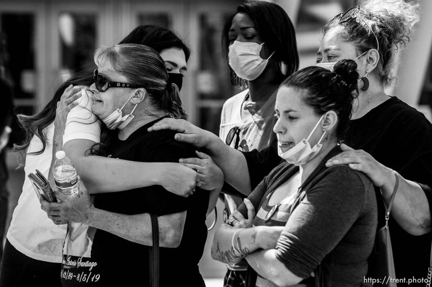(Trent Nelson | The Salt Lake Tribune) Bobbie Santiago, mother of Riche Antonio Santiago, is embraced by Jeanette Padilla at a rally against police brutality at the Public Safety Building in Salt Lake City on Saturday, Aug. 15, 2020.