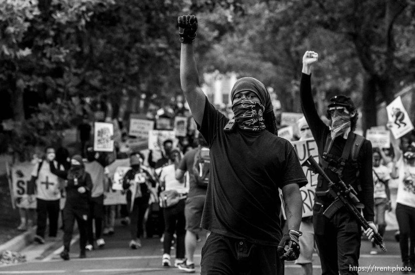 (Trent Nelson | The Salt Lake Tribune) Protesters against police brutality march in Salt Lake City on Saturday, Aug. 22, 2020.