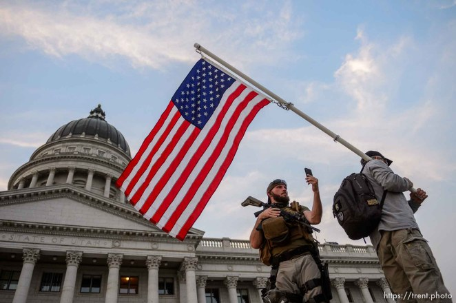 (Trent Nelson | The Salt Lake Tribune) A rally in support of police at the State Capitol in Salt Lake City on Saturday, Aug. 22, 2020.