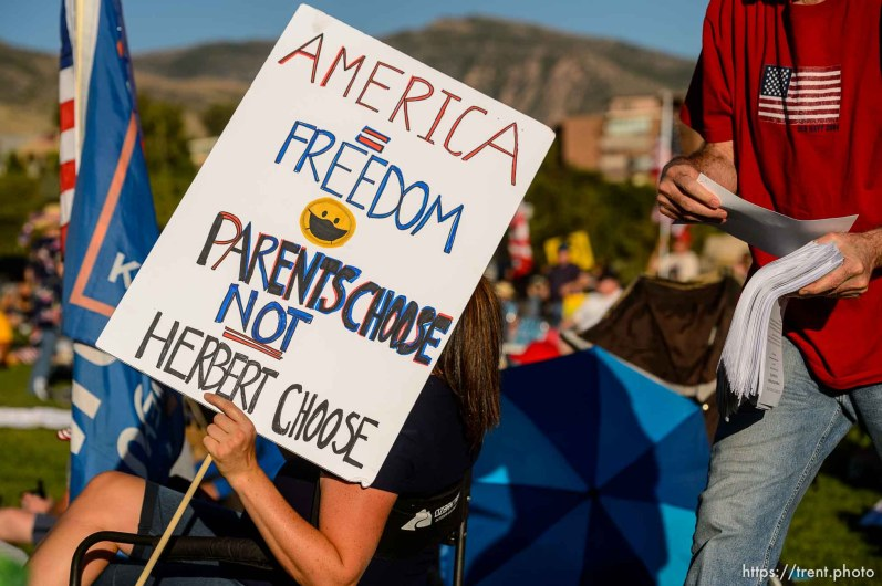 (Trent Nelson | The Salt Lake Tribune) A rally protesting government mask mandates at the State Capitol inSalt Lake City on Saturday, Sept. 5, 2020.