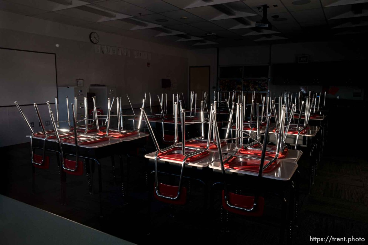 (Trent Nelson   The Salt Lake Tribune) An empty classroom at Northwest Middle School in Salt Lake City on Friday, Dec. 4, 2020.