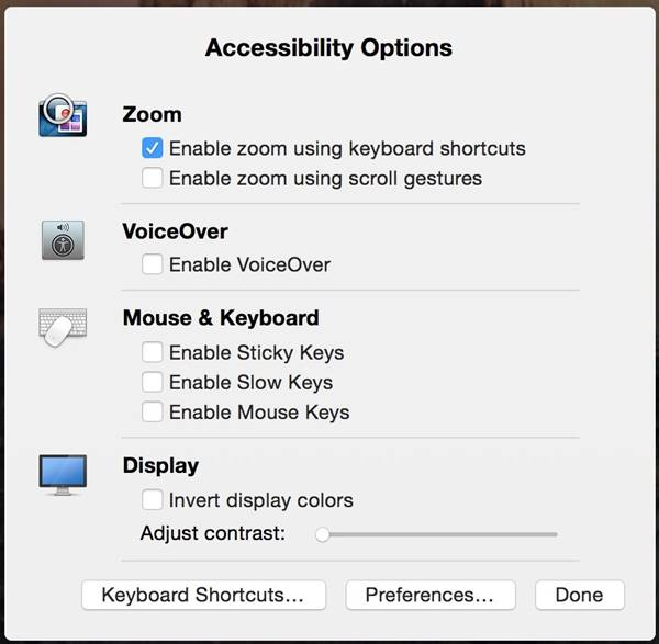 Accessibility Options OS X