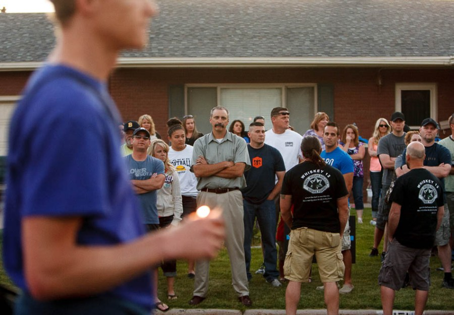 Supporters of the Ogden Police Department stood on as marchers passed in memory of Matthew Stewart