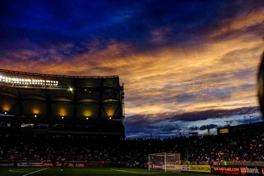 sunset at Rio Tinto soccer stadium, home of Real Salt Lake