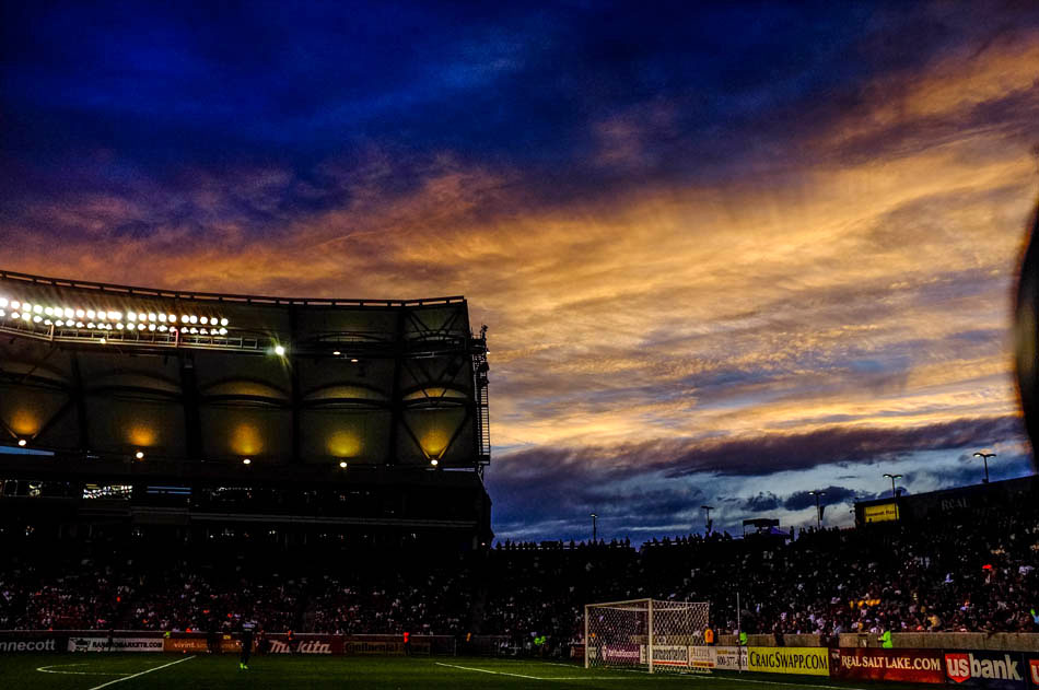 sunset at Rio Tinto soccer stadium, home of Real Salt Lake