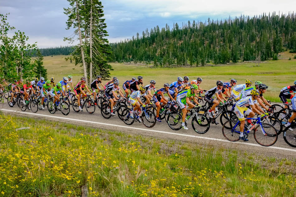 Riders on SR-14 during stage one of the Tour of Utah at Brian Head Tuesday August 6, 2013.
