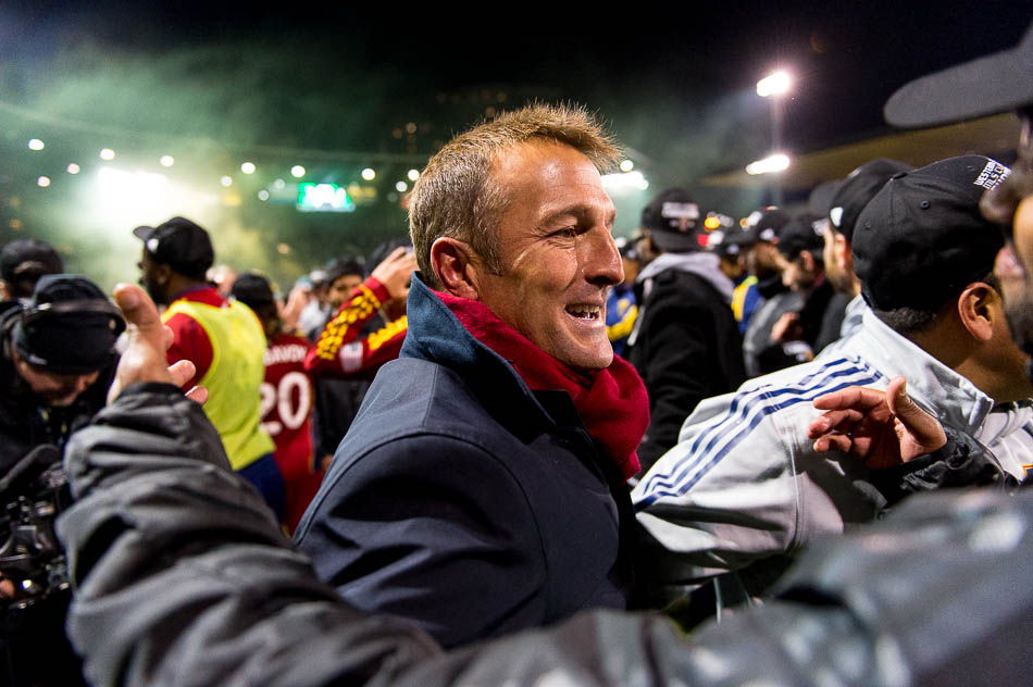 RSL coach Jason Kreis with a tear in his eye after the win in Portland