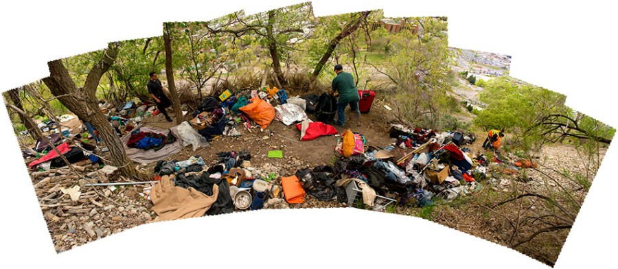 cleanup of homeless camp, salt lake city