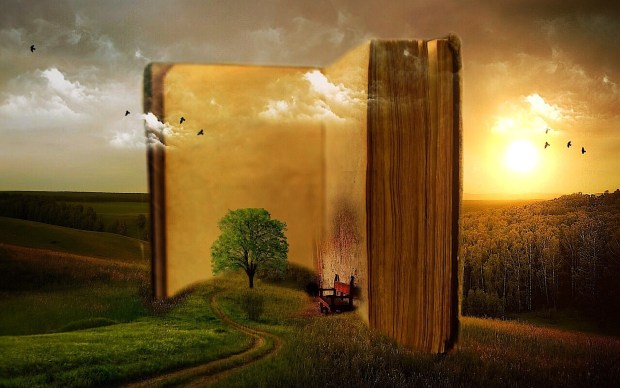 Foto surrealismo di un libro enorme in un prato al tramonto