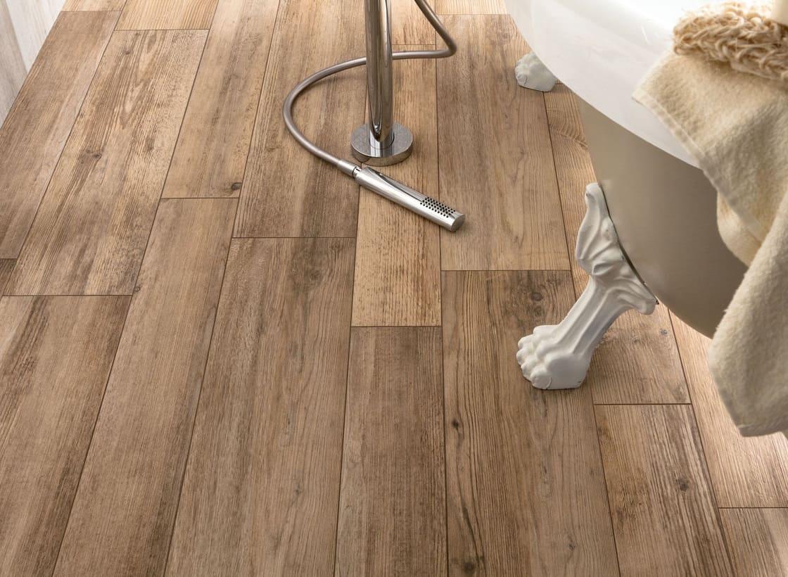 distressed wood tile flooring on