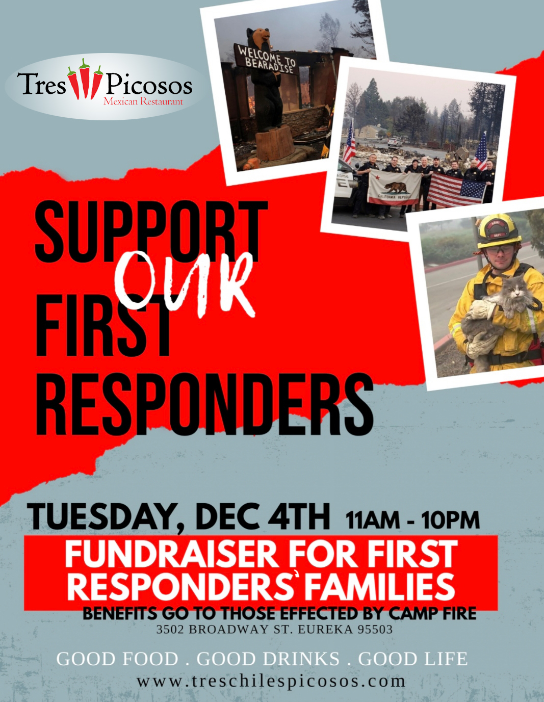 Come Dine with us on Tues, Dec 4 and you will be supporting First Responder Families who were impacted by the Camp Fire!