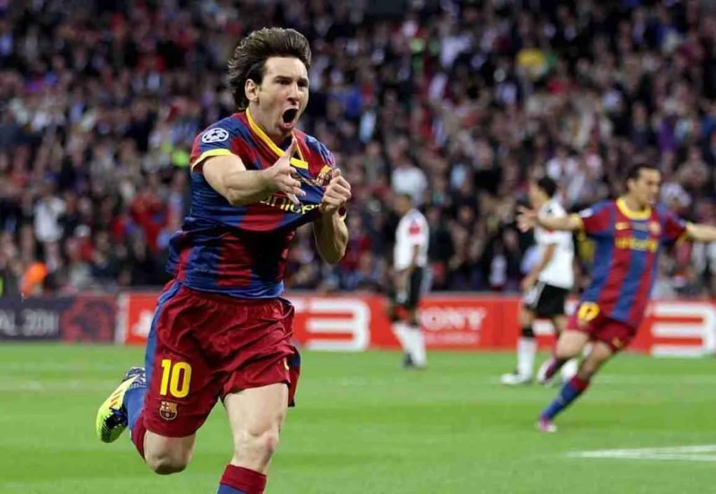 Messi celebra gol Manchester United Barcelona final champions 2011