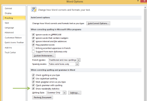 Word Options Proofing Screen