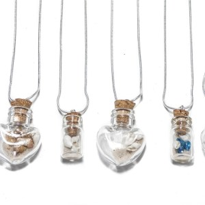 Glass bottle necklace with Sand and shells