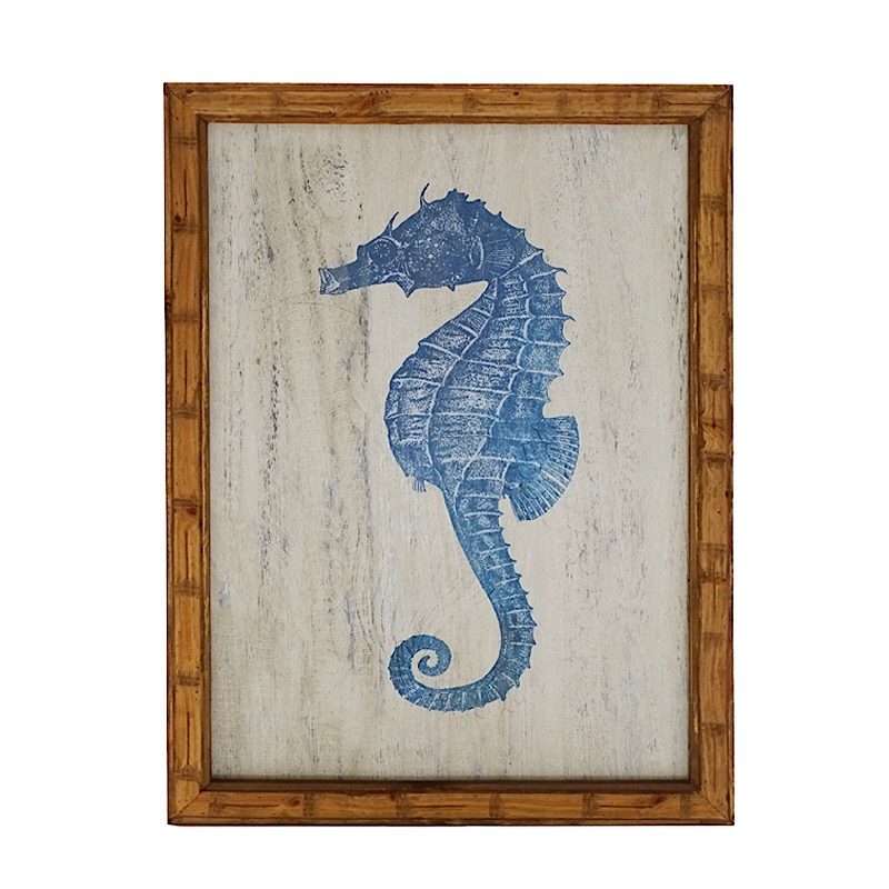 seahorse wall art in timber and glass
