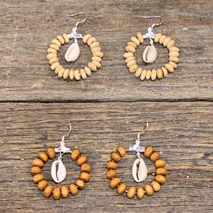 Shell cowrie wooden hoop earrings made in Australia