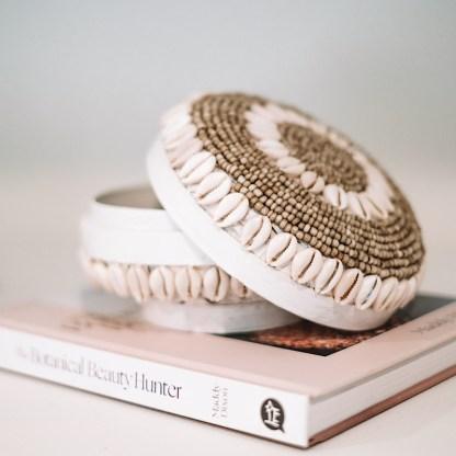 Cowry decorative shell basket