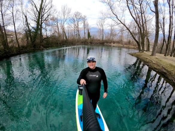 GoPro hero7, paddleboard sul lago, Lazio, trevaligie
