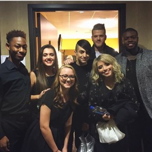 Lauren Cagle and Dana Hood backstage with Pentatonix at CMA Country Christmas recording