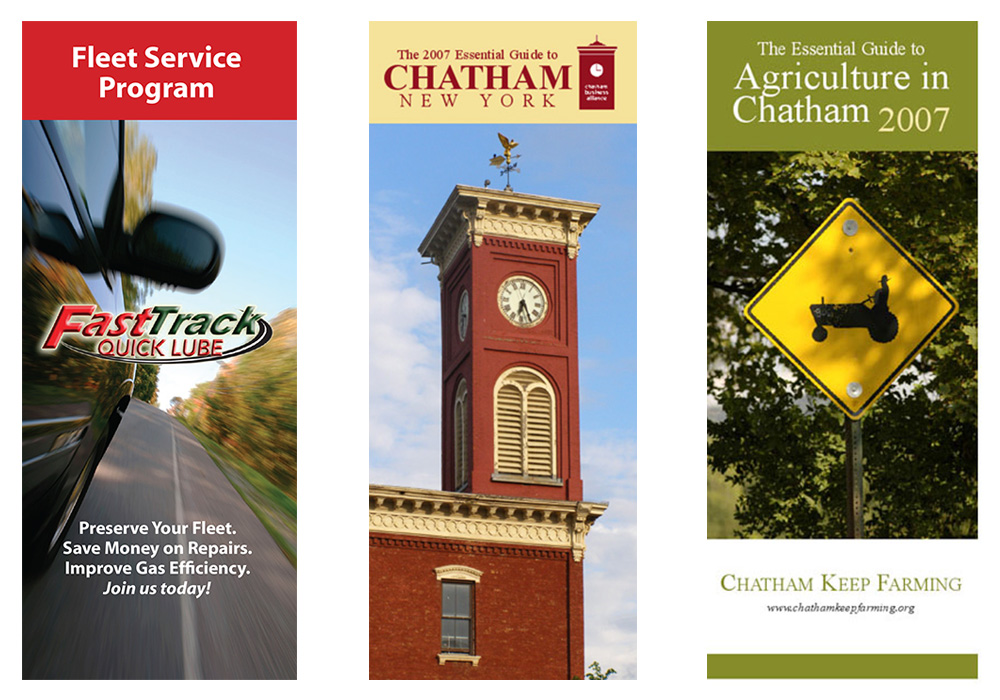 Brochure design for Fast Track Quick Lube, the Chatham Area Business Alliance, and Chatham Keep Farming - designed by Trevellyan.biz, Columbia County's graphic designer
