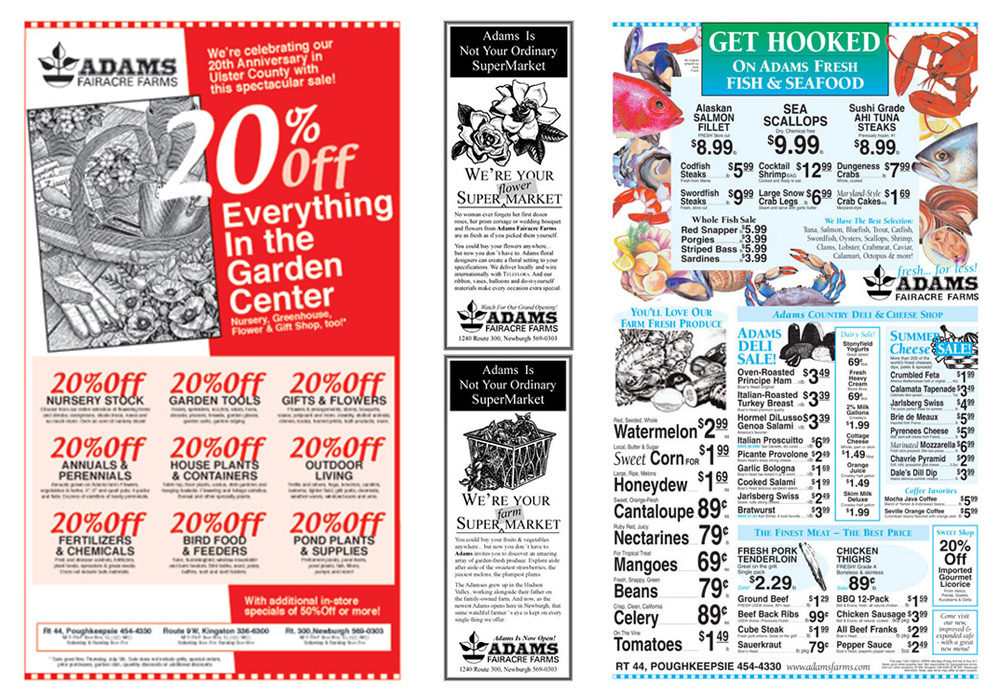 Newspaper display ads for Adams Fairacre Farms - designed by Trevellyan.biz, Columbia County, NY graphic designer