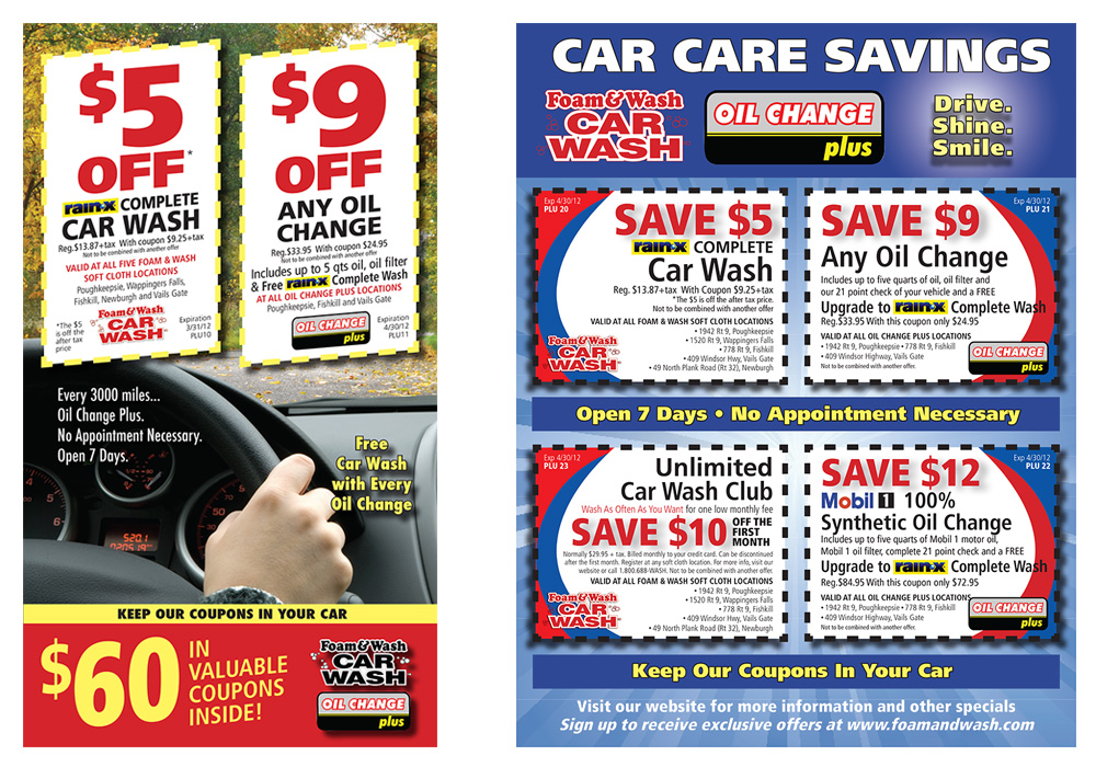 Flyer design for Foam and Wash Car Wash - designed by Trevellyan.biz, Columbia County, NY graphic designer