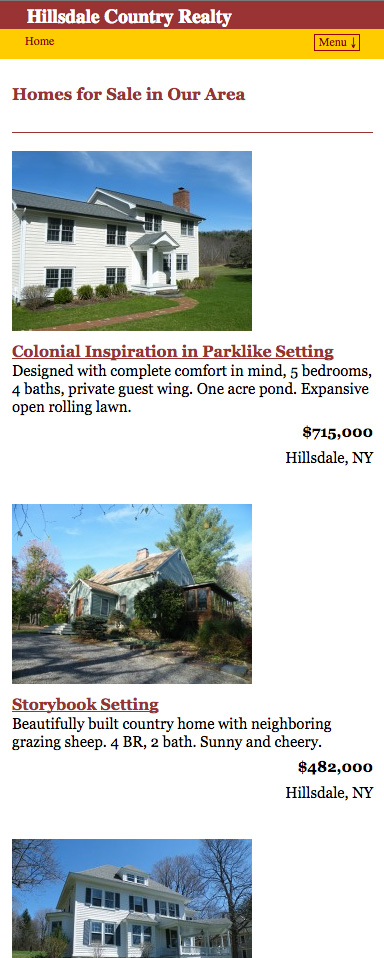Hillsdale Country Realty website as displayed on a mobile device