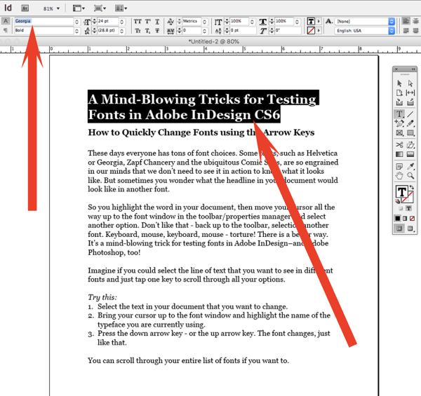 Changing fonts in Adobe InDesign