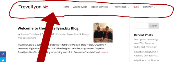 Screenshot of the Trevellyan.biz website illustrating the header - one of the five structural parts of a website.