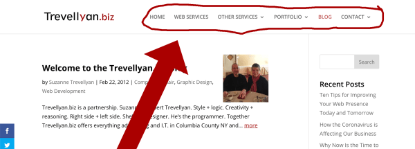 Screenshot of the Trevellyan.biz website illustrating the primary navigation bar - one of the five structural parts of a website.