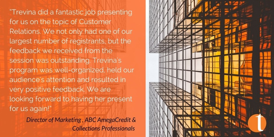 Customer Service Training Image of building with orange block overlay and text of a client testimonial