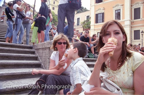 family on the Spanish Steps
