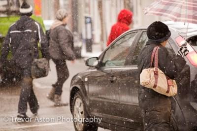snow in the high street Teddington southwest London