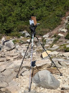 Gorillapod and three hiking poles used to make a standing easel