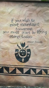 If you wish to move mountains tomorrow you must start lifting stones today