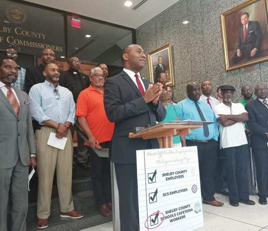 """Shelby County Mayor Lee Harris vows to """"turn over every stone"""" to find funds to pay cafeteria workers a """"living wage."""""""