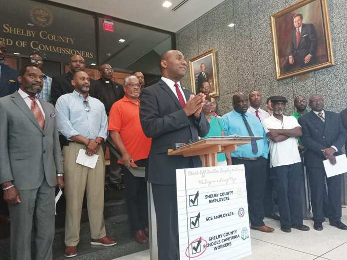 "Shelby County Mayor Lee Harris vows to ""turn over every stone"" to find funds to pay cafeteria workers a ""living wage."""