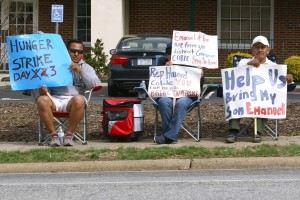 Family members on hunger strike in Greensboro last Friday