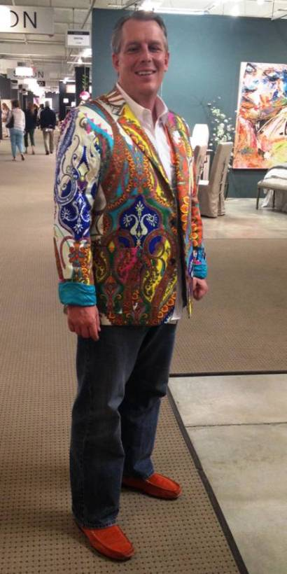 """Life imitates art with a color explosion Trina Turk jacket. """"No chance of me getting lost in the crowd,"""" says this market goer."""