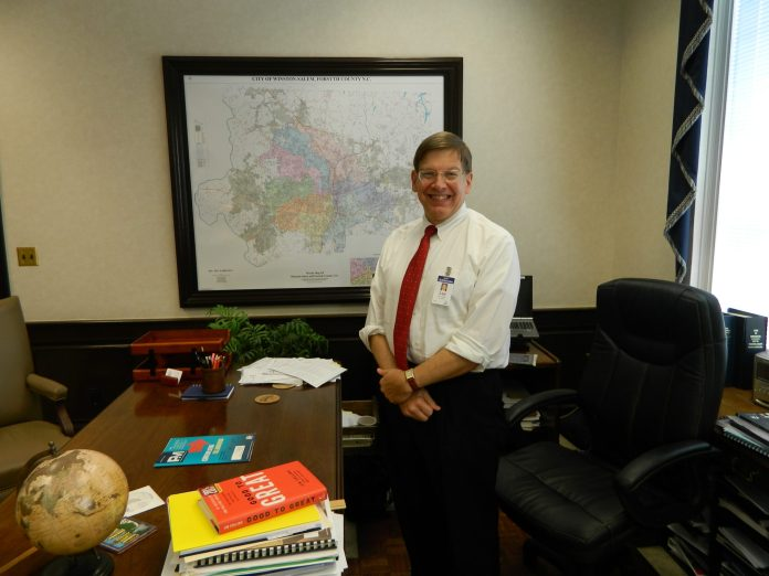 Winston-Salem City Manager Lee Garrity keeps a copy of Good to Great on his desk.