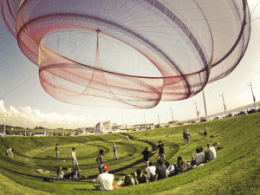 A Janet Echelman sculpture in Portugal