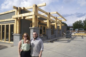 Nicole and Calder Preyer outside the building that will house the brewery but that is currently under construction.