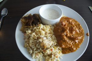 Right: the butter chicken