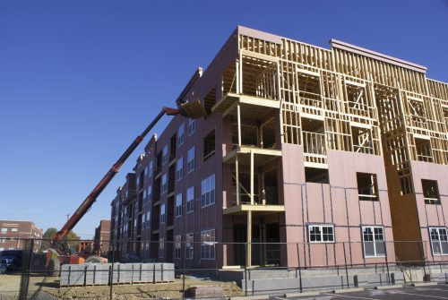 Construction at the Greenway at Stadium Park apartments.
