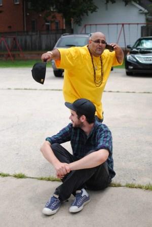 Jay goofing around behind Eric.  Photo by Alex Stewart.
